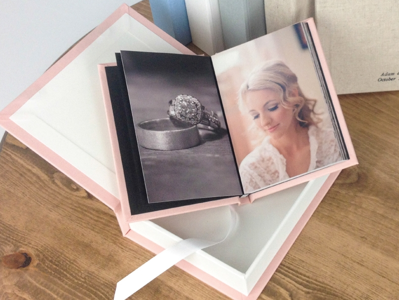 Light Pink Wedding Album in Light Pink Custom Box