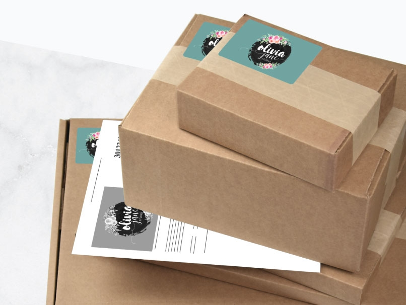 Woman with blonde Hair Opening a Box with Branded Shipping Label