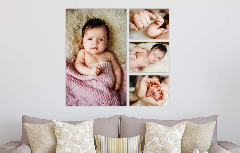 Newborn Baby Session Printed on Split Image & Cluster Canvas Wrap The Big E Design