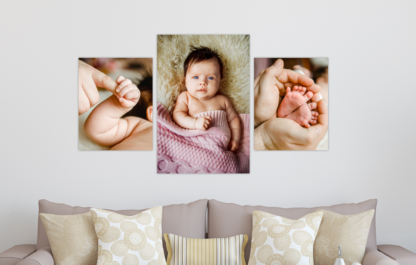 Newborn Baby Session Printed on Split Image & Cluster             Canvas Wrap Classic Triptych Design