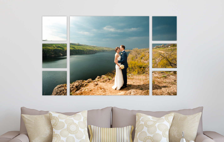 Wedding Portrait River Landscape Printed on Split Image & Cluster Canvas Wrap Filmstrip Design