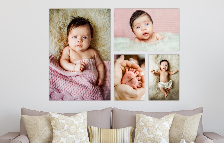 Newborn Baby Session Printed on Split Image & Cluster Canvas Wrap Formal Four Design
