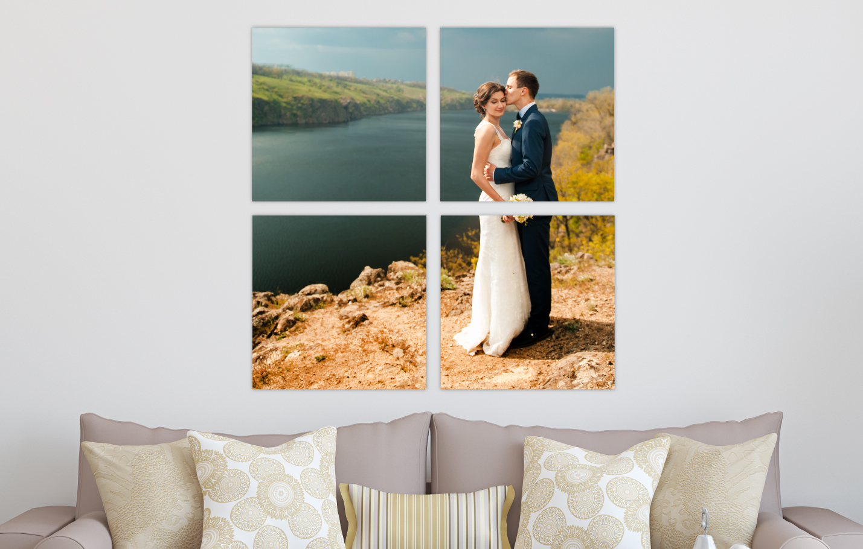 Wedding Portrait River Landscape Printed on Split Image & Cluster Canvas Wrap Four Square Design