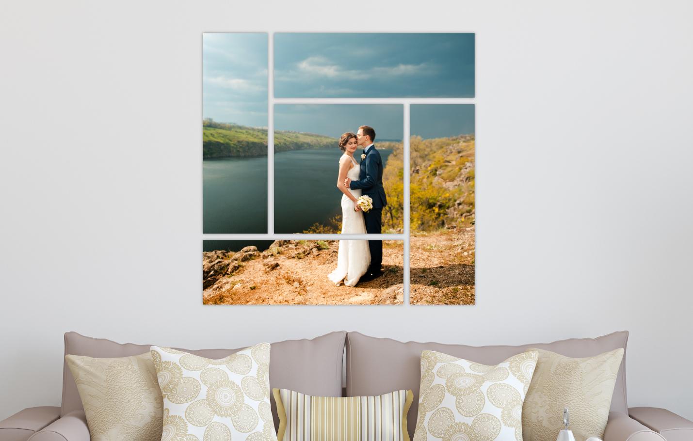 Wedding Portrait River Landscape Printed on Split Image & Cluster Canvas Wrap Parquet Design