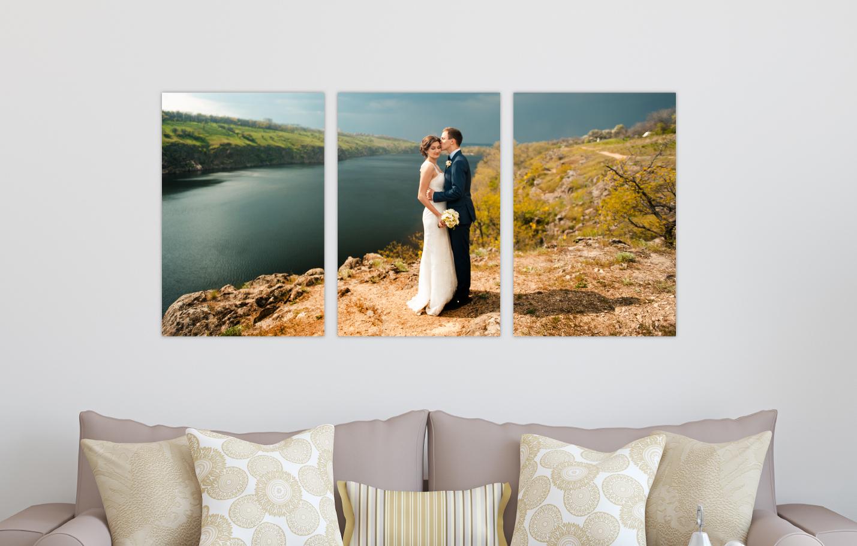 Wedding Portrait River Landscape Printed on Split Image & Cluster Canvas Wrap Portrait Triptych Design