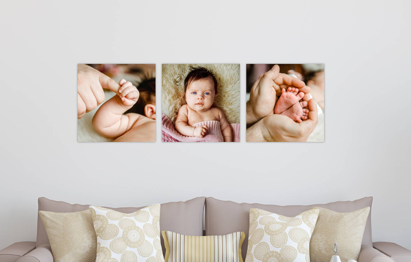 Newborn Baby Session Printed on Split Image & Cluster Canvas Wrap Square Triptych Design