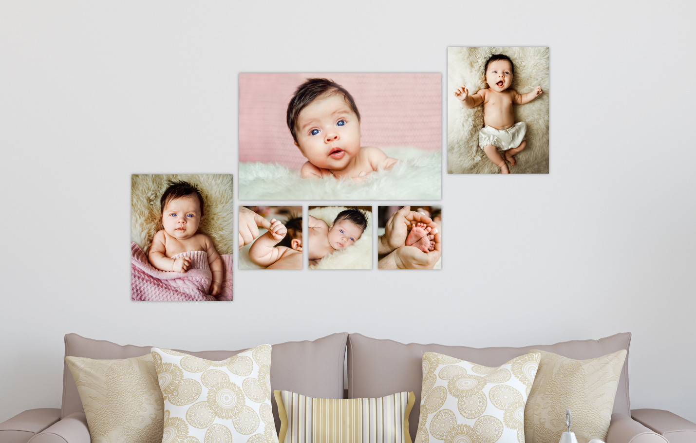 Newborn Baby Session Printed on Split Image & Cluster Canvas Wrap Stairclimber Design