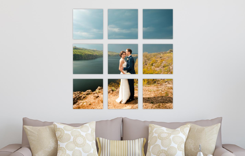 Wedding Portrait River Landscape Printed on Split Image & Cluster Canvas Wrap Tic Tac Toe Design
