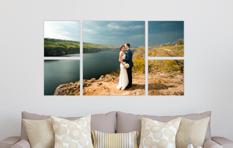 Wedding Portrait River Landscape Printed on Split Image & Cluster Canvas Wrap Timeless Design