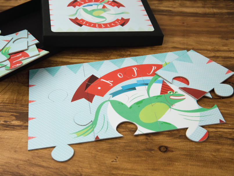 Custom Illustrated Birthday Frog Printed on Children's Puzzle with Box