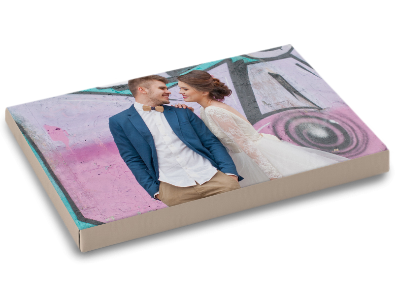 Married Couple with Graffiti Background with Border Wrap Around Edge of Canvas