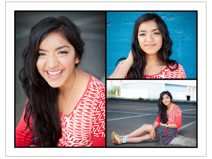 Comp Cards of Teen Girl in Red Shirt