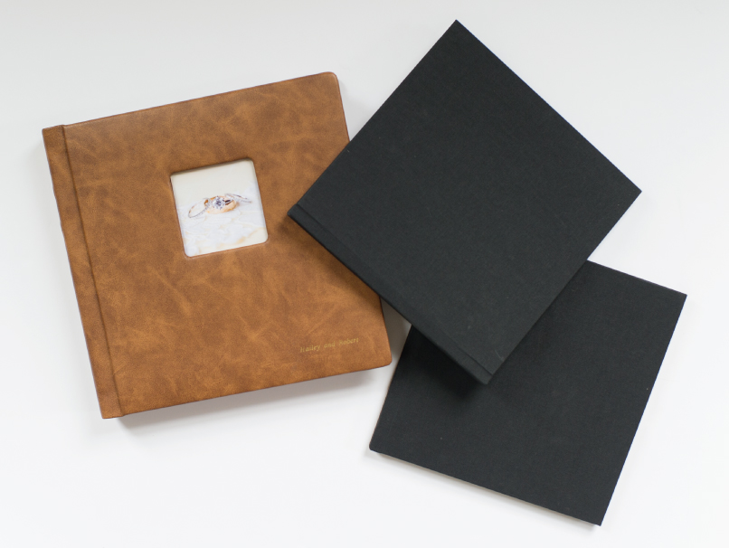 Brown Leather Album with Cameo & 2 Black Companion Books