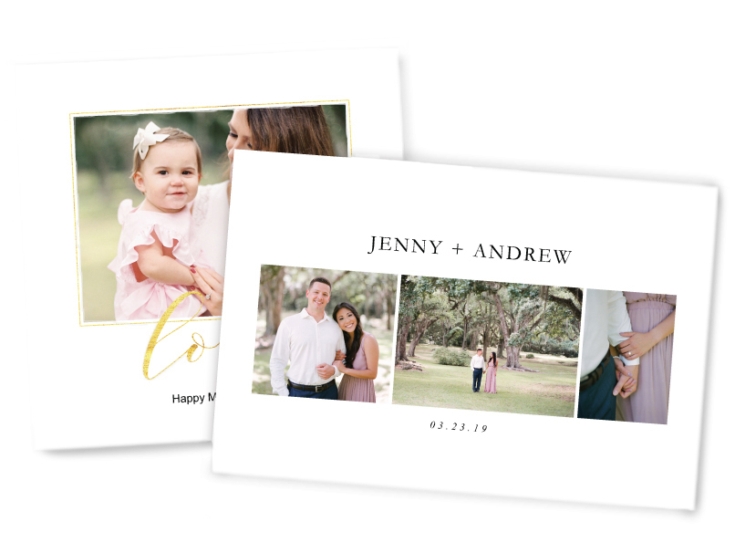 Mom & Baby & Engaged Couple photos printed on Composite Photographic Prints with Custom Text