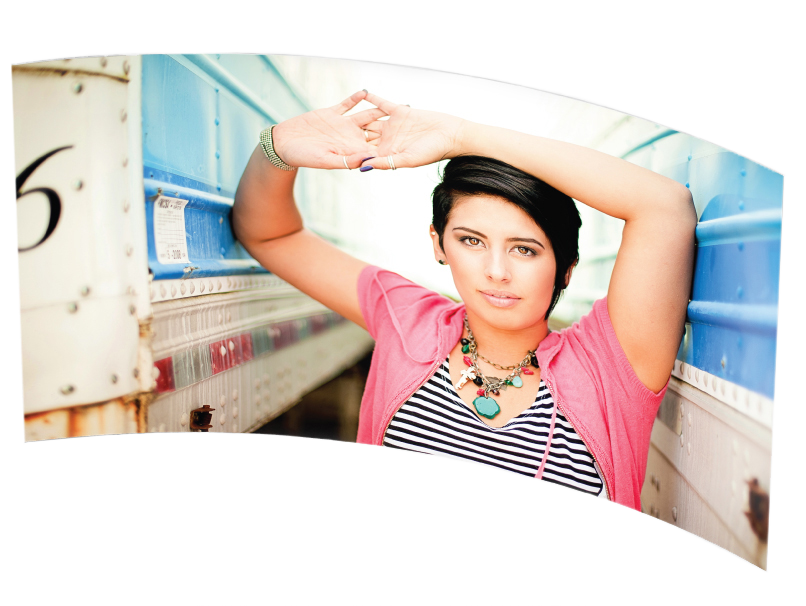 Senior Girl with Pink Cardigan Printed on a concave Curved Metal Print