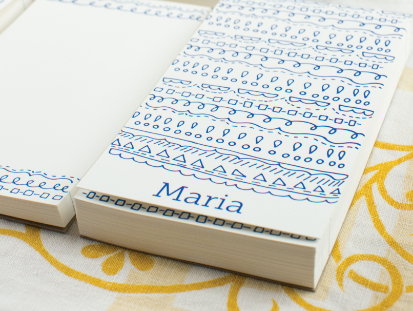 Blue Swirl Design on Covered & Coverless Notepads