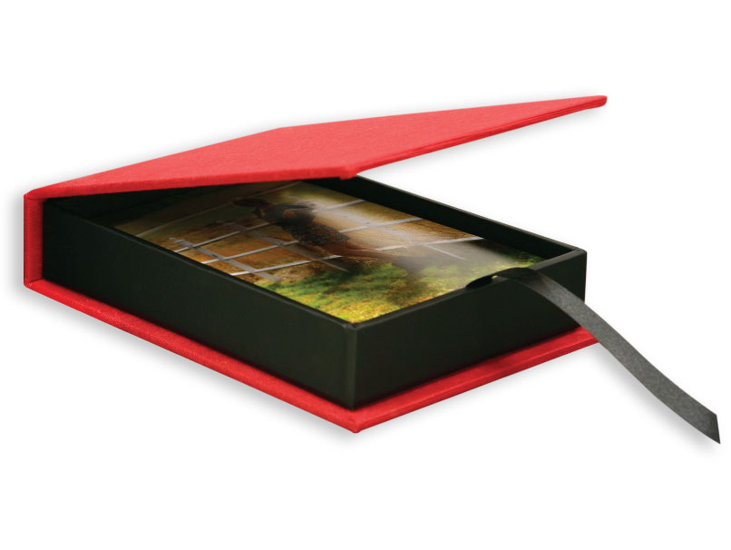 Photo Print in Red Fabric Box
