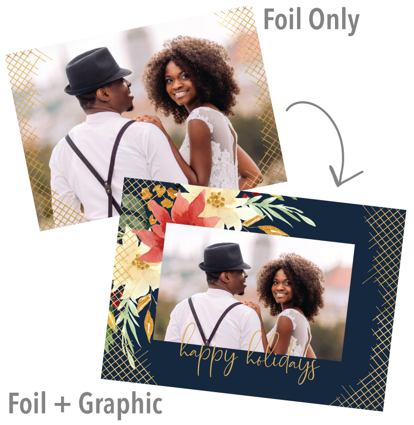 Bride & Groom  printed on a flat holiday foil card