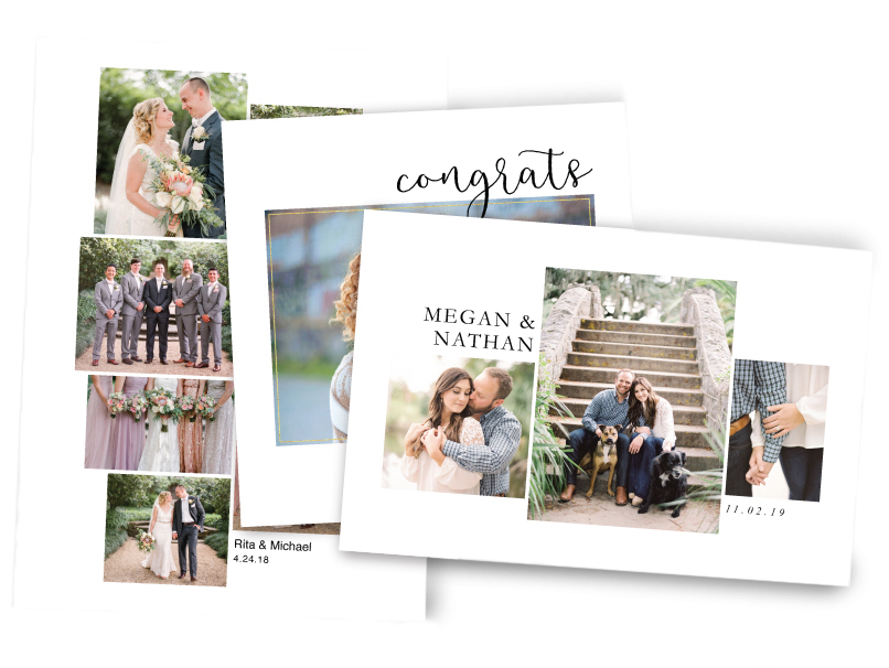 Engagement & Wedding Photos Printed on Composite Colalge Prints with Custom Text