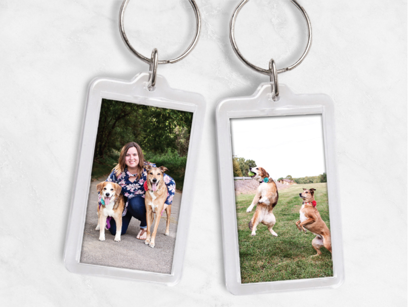 Woman with 2 dogs on front & 2 dogs on back oh Photo Key Chain