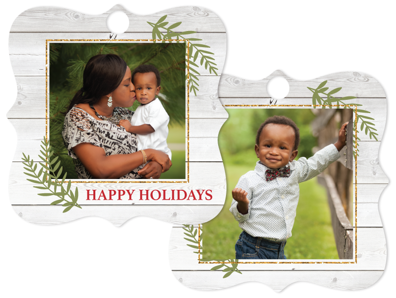 High Gloss Metal Ornament printed with a front and back custom photo showing a Mother Kissing Her Toddler on the front side and the Toddler Smiling on the back side