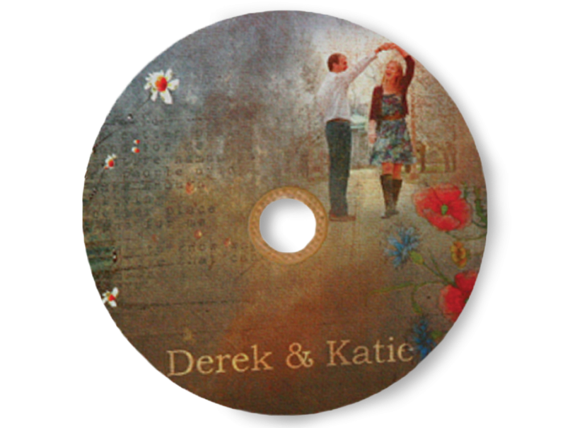 Image of Engaged Couple Dancing Printed on DVD Label