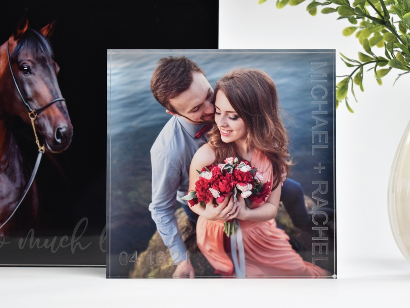 Laser engraved acrylic block with image of couple by the water