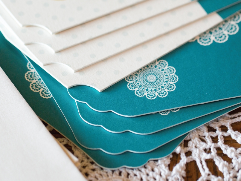Teal & white Card with Mandala - 5 Extra Thick LOFT Shapes 5x7 Only