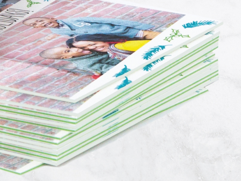 Christmas Card Printed in 3 Extra Thick Paper Thicknesses with Bright Green core