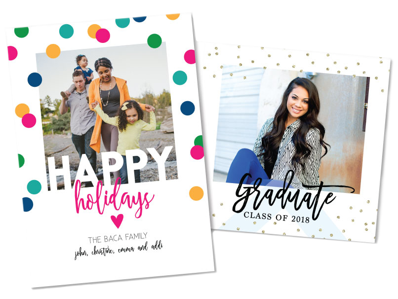 Holiday & Graduation Announcement - 7 Extra Thick Card Sizes