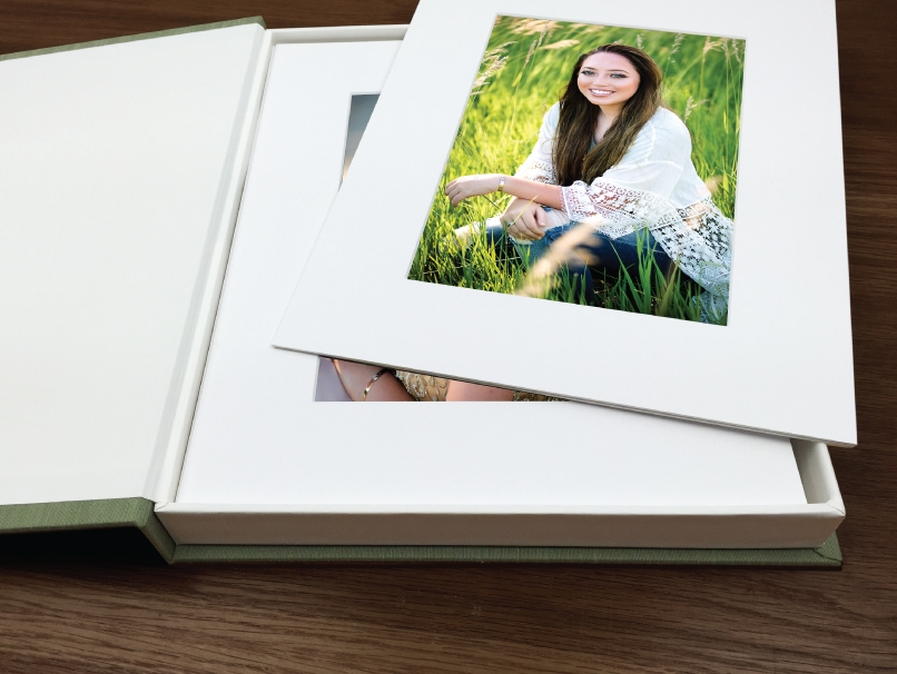 Portraits of Senior Girl with Long Brown Hair Mounted in DIY Photo Mats Displayed in Folio Image Box