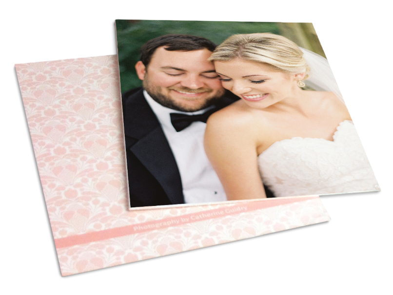 Wedding Portrait Front & Patterned Back Print, Double Sided Printing
