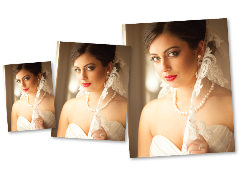 Bride on 3 Folio Print Sizes