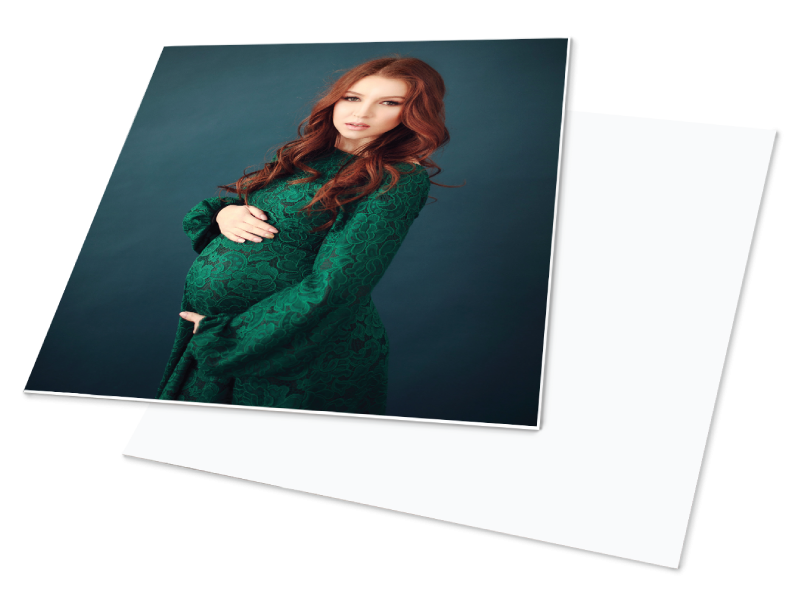 Portrait of Pregnant Woman in Green Dress on Styrene Mounted Photographic Print
