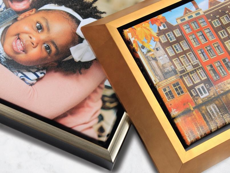 2 Framed Metal Prints of Cityscape & Senior Girl