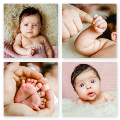 Newborn Baby Session Printed on Cluster Canvas Wrap