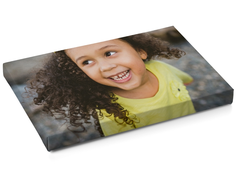 Little Girl In Yellow Shirt with Full Image Wrap Around Canvas