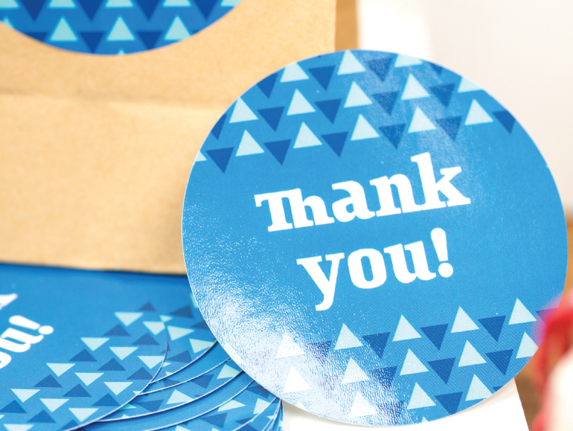Round Blue Thank You Sticker with Triangles