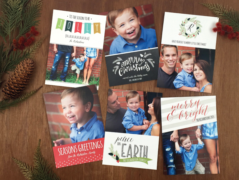6 Different Holiday Cards Printed with Greeting Card 6-Card Sampler