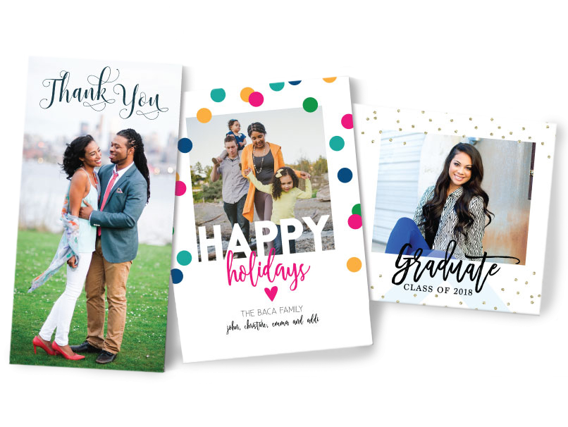 Thank you, Holiday & Graduation Announcements - 7 Greeting Card Sizes