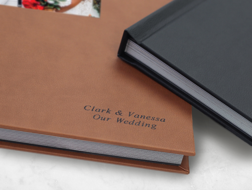 Black Embossing on Brown Leather Cover