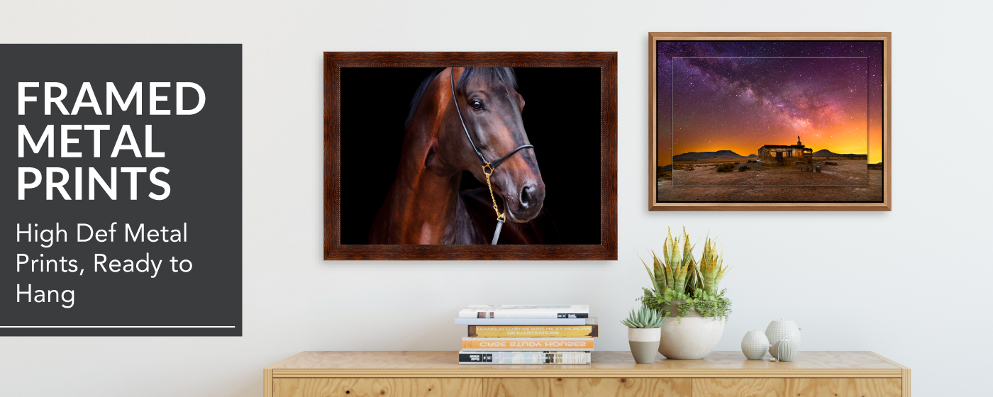 images of a horse & a building in the desert printed on metal prints & mounted in Frams