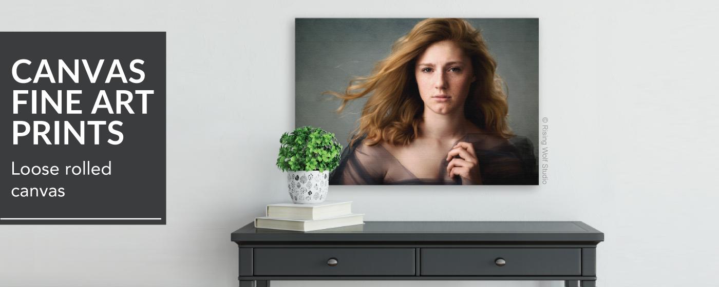 Senior Portrait Canvas Giclée Fine Art on Wall Over Table