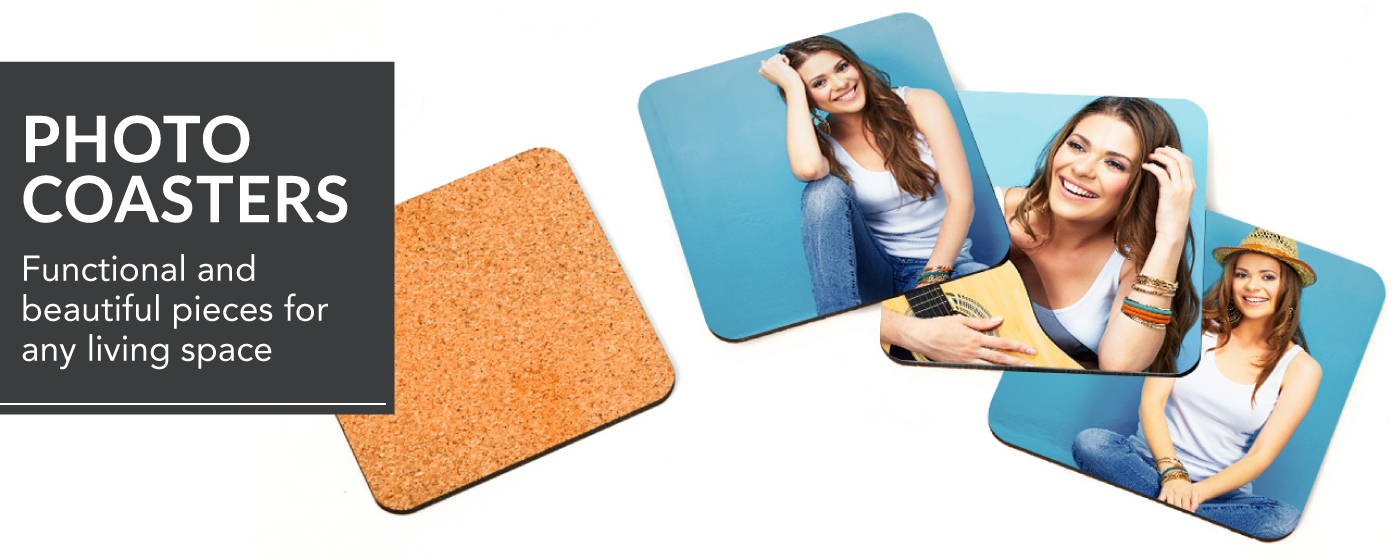 Woman in white tank top on blue background printed on set of 4 Wooden Coasters
