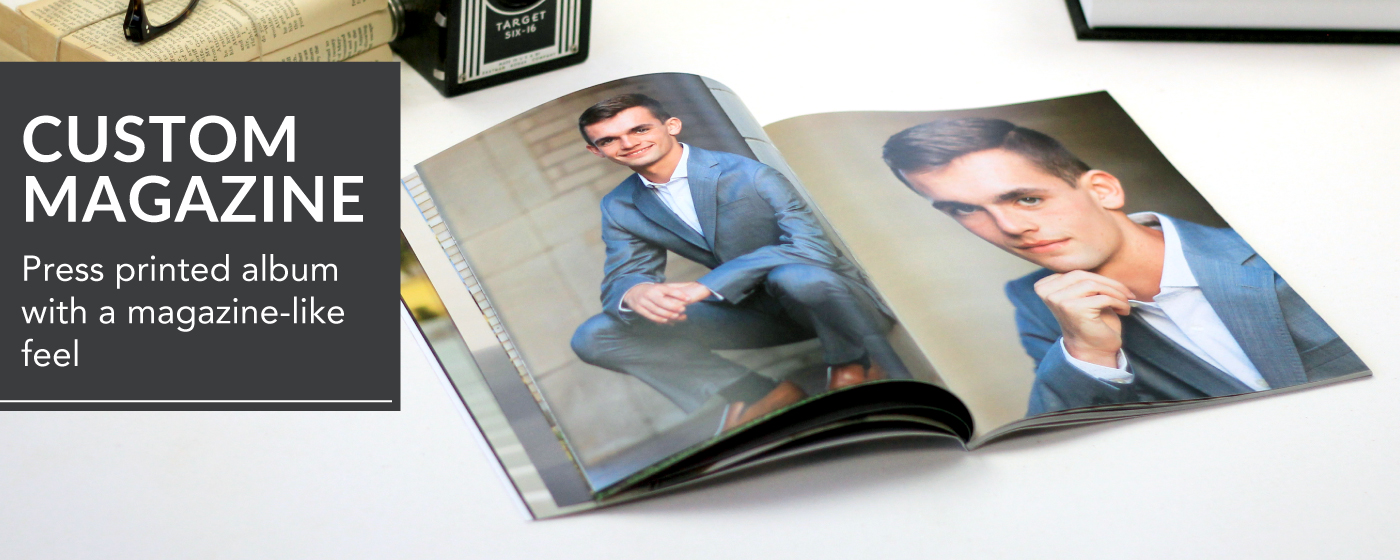Senior Sessions Printed in Custom Magazine Laying Open on Table