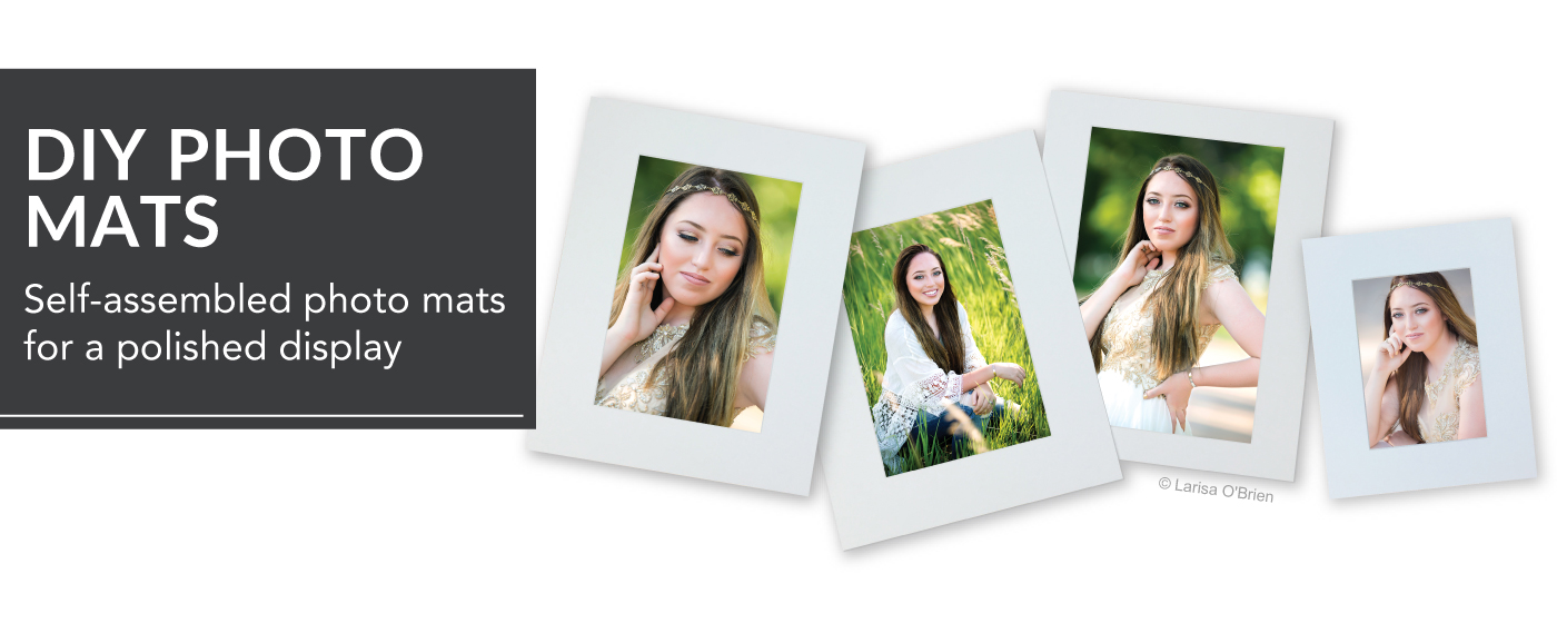 Portraits of Senior Girl with Long Brown Hair Mounted in DIY Photo Mats