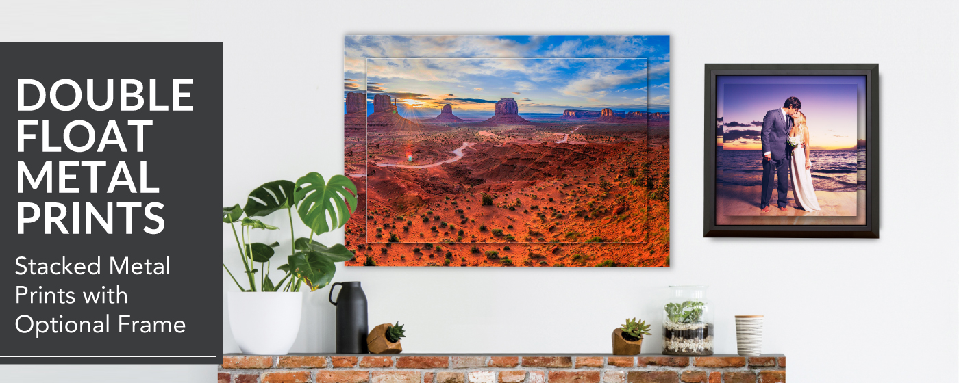 Desert at sunset printed on a Double Float Metal Print & Bride & Groom kissing on a beach printed on a Framed Double Float Metal Print