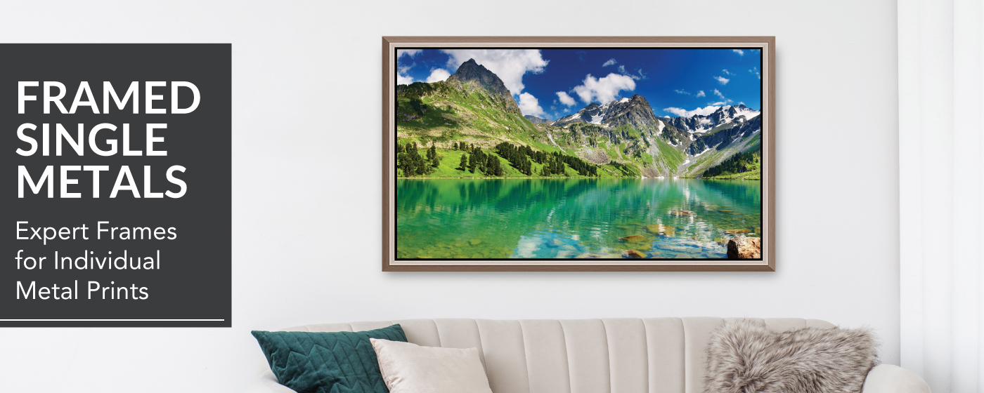 Image of Mountains and Lake Printed on Framed Metal Prints