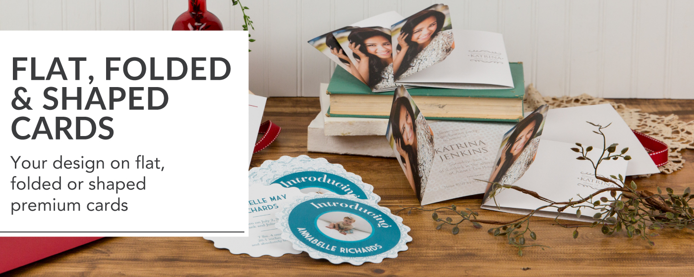 Graduation Announcement & Birth Announcements in Flat, Folded & Shaped Greeting Cards