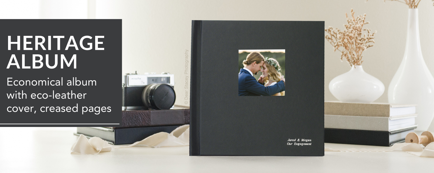 Black Vegan Leather Heritage Wedding Album with Camo of Married couple & Cover Embossing in Silver